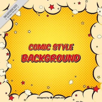 Comic retro background with clouds border