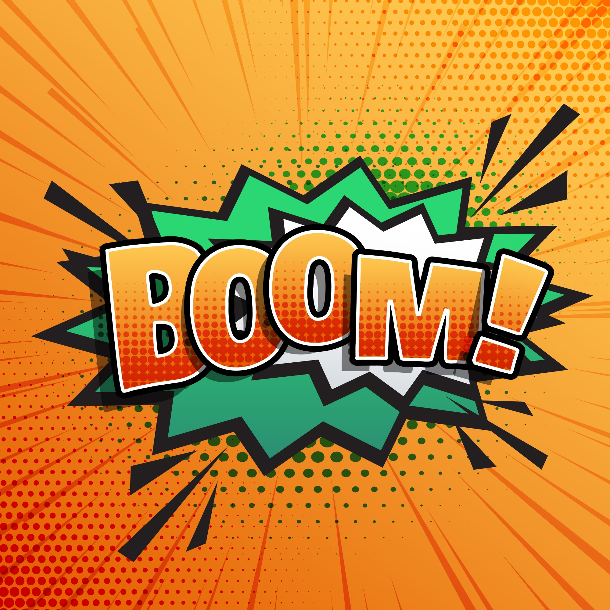 Comic sound text effect of boom in pop style art