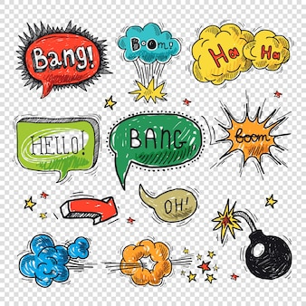 Comic speech bubble hand drawn design element symbol boom splash bomb vector illustration.