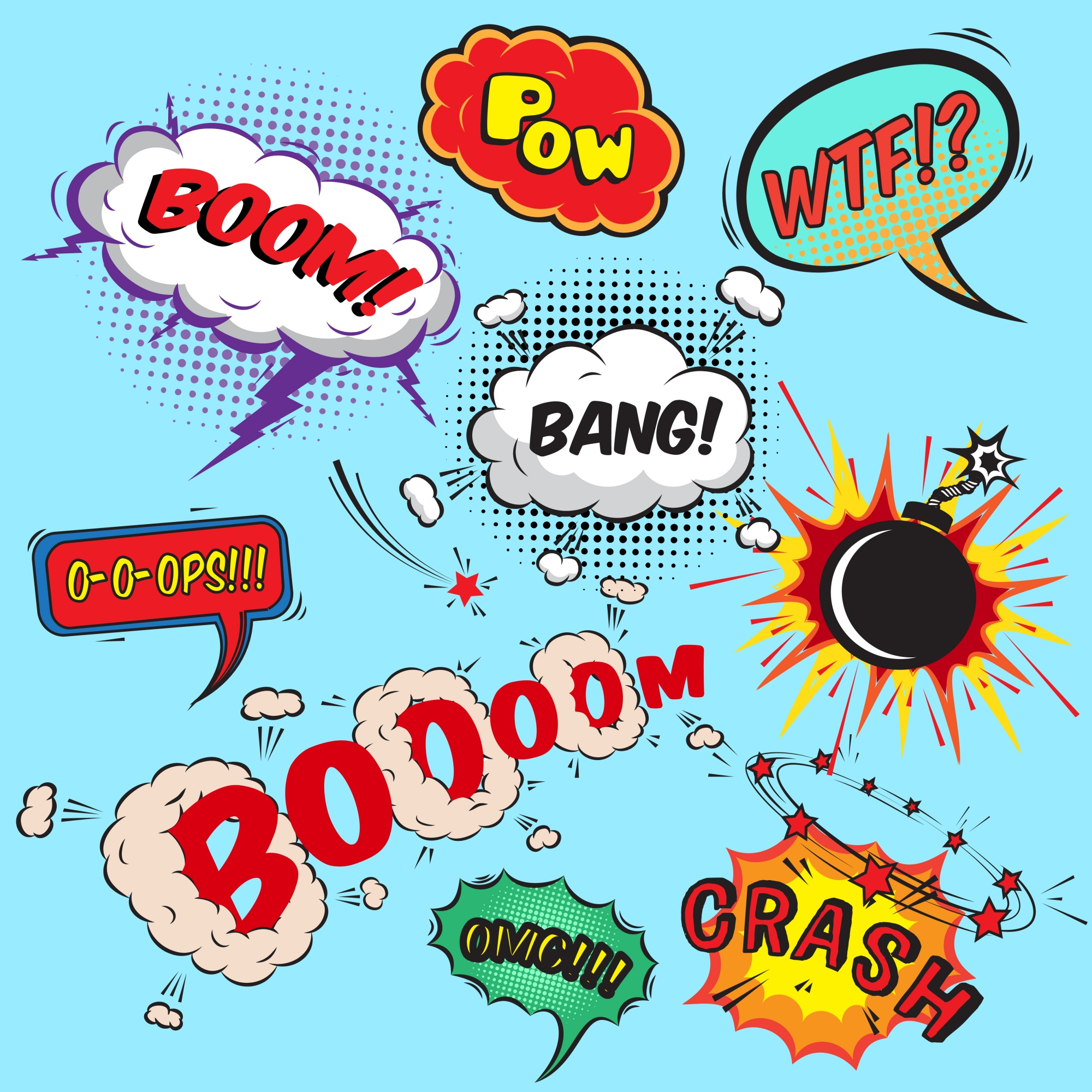 Comic speech bubbles design elements collection isolated vector illustration