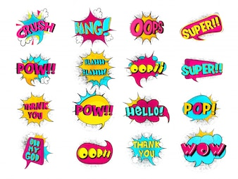 Comic Speech Bubbles Set, Vintage Style