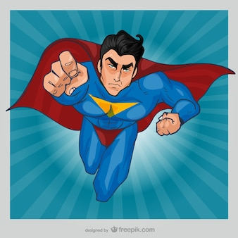 Comic superhero flying