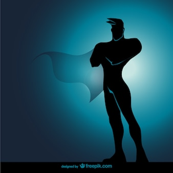 Comic superhero standing silhouette