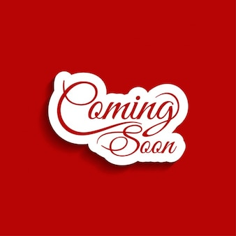 Coming soon text red background