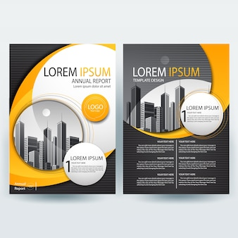 Commercial annual report template with Orange and Black Wavy Shapes