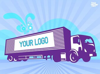 Commercial delivery truck driving vector