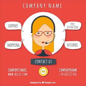Company background with callcenter girl