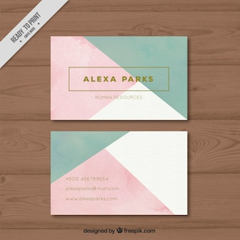 Company card with geometric shapes