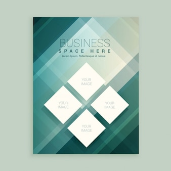 Company flyer template with abstract shapes