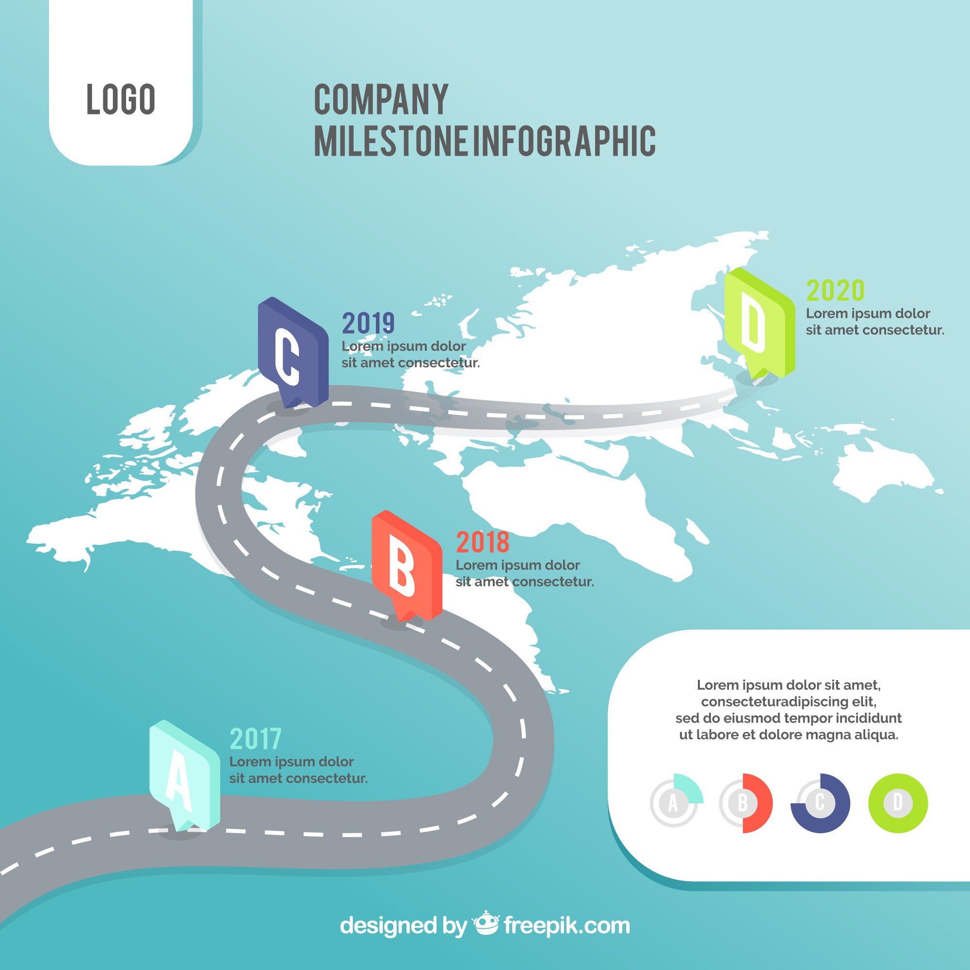 Company infographic with world map