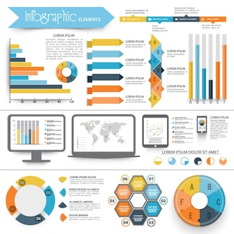 Complete infographics with geometric elements