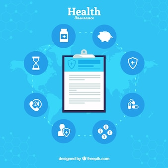 Composition with clipboard and health insurance icons