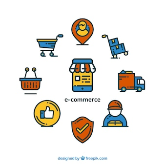 Composition with e-commerce icons