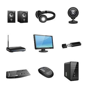 Computer accessories and peripheral black icons set isolated vector illustration