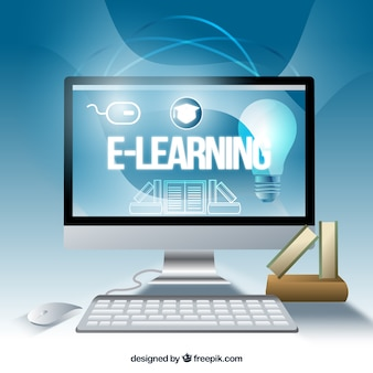 Computer background of digital learning