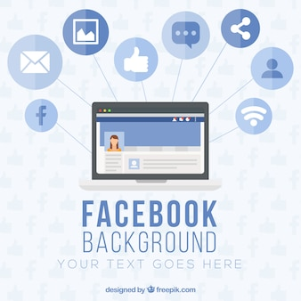 Computer background with facebook icons in flat design