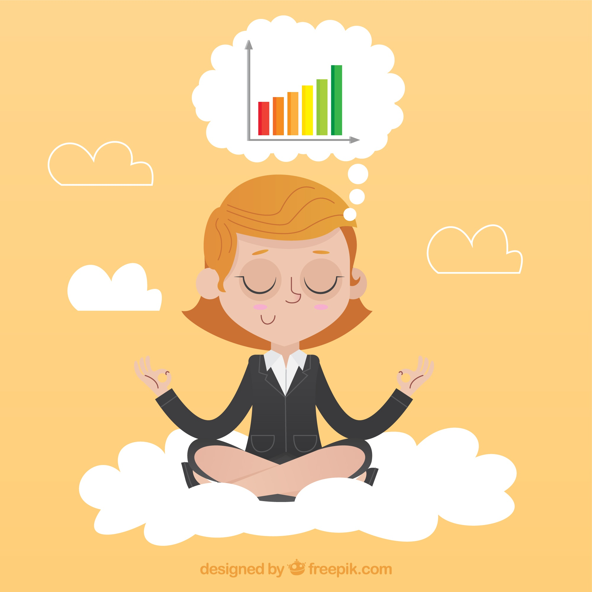 Concentrated businesswoman meditating