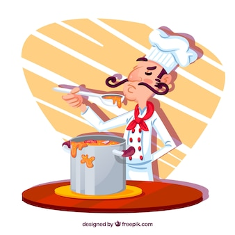 Concentrated chef cooking soup