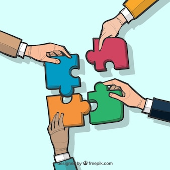 Concept about teamwork, puzzle pieces