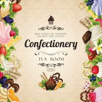 Confectionery background with realistic items