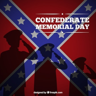 Confederate memorial day background with soldier silhouettes