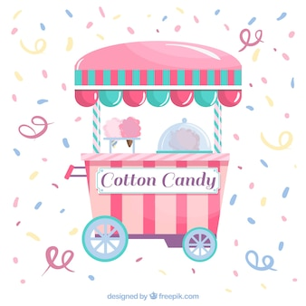 Confetti background with cotton candy trolley