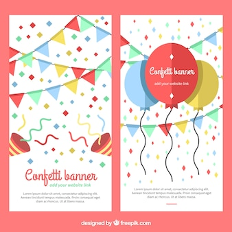 Confetti banners with balloons and garlands in flat style