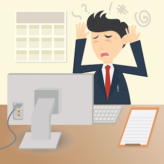 Confused businessman character cartoon vector design