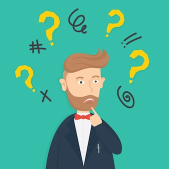 Confused businessman character cartoon vector design