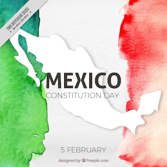 Consitution day background with watercolor mexico flag
