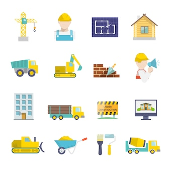 Construction vehicles facilities and building tools icons set isolated vector illustration