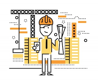 Construction worker standing on building site. flat thin line design elements. vector illustration