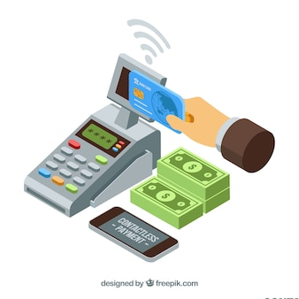 Contacless payment with isometric style
