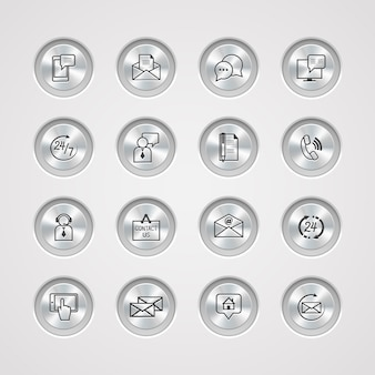 Contact us service icons set on control metal buttons of email phone communication and representative person vector illustration