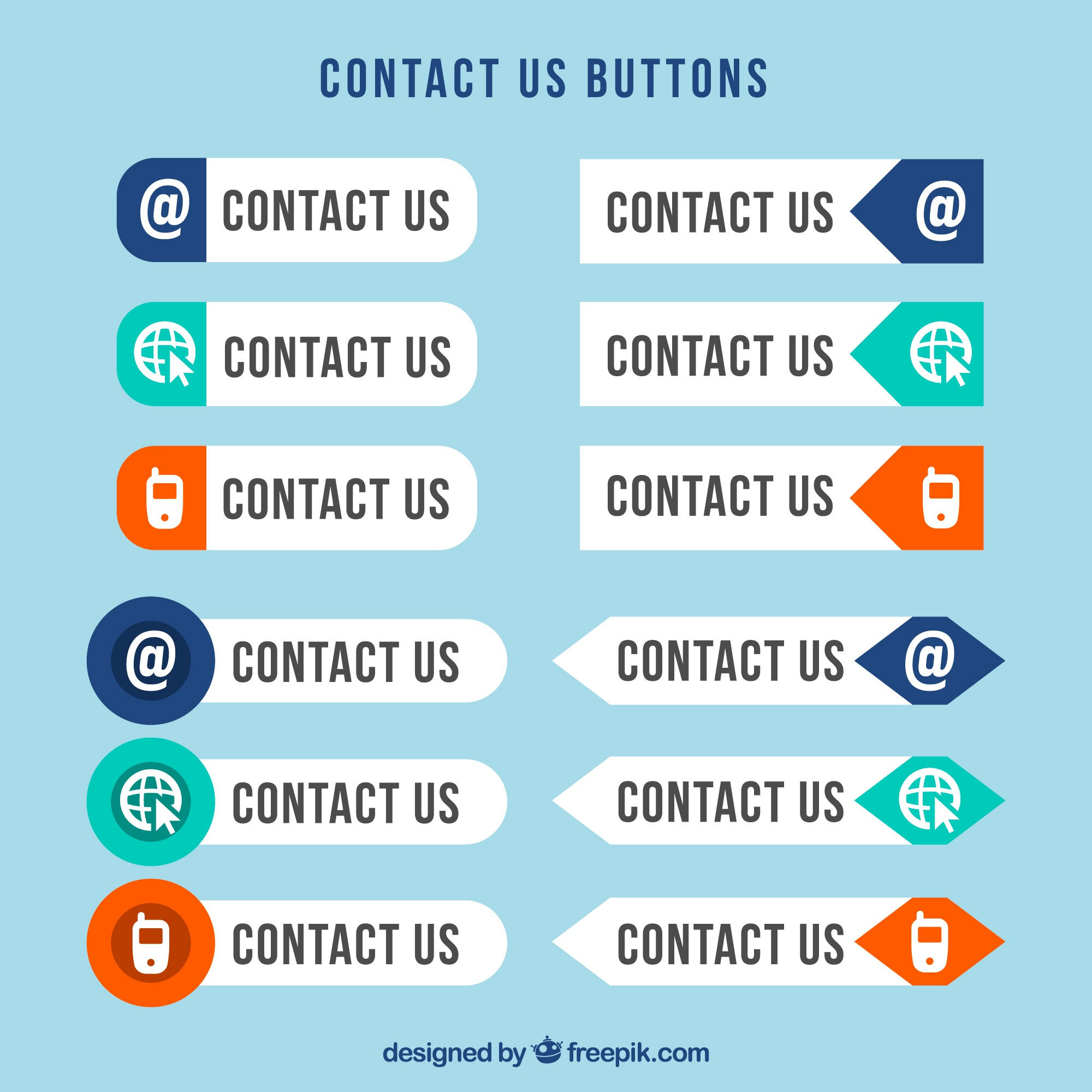 contact web buttons in flat design