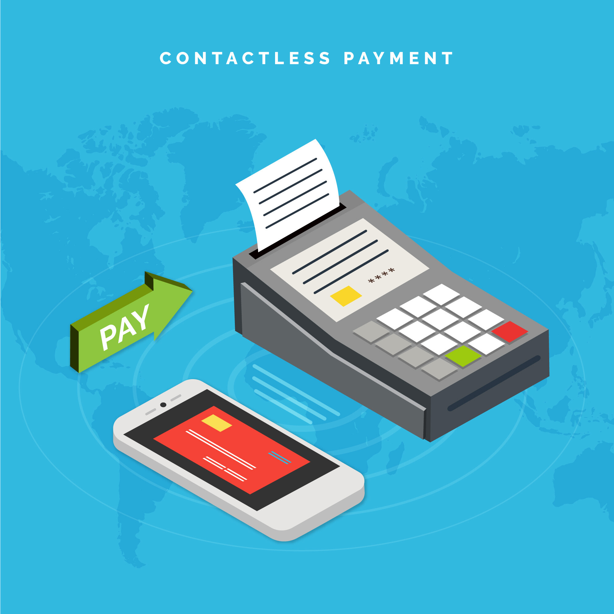 Contactless payment on world map background