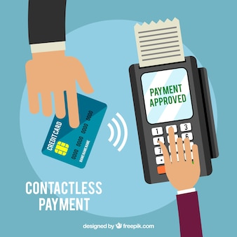 Contactless payment with flat hands and credit card