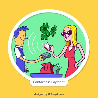 Contactless payment with hand drawn characters