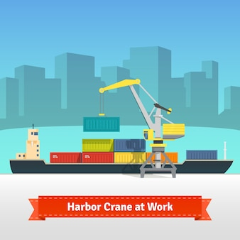 Container cargo ship loaded by harbour crane