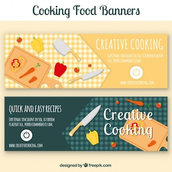 Cooking banners with cutting board and vegetables