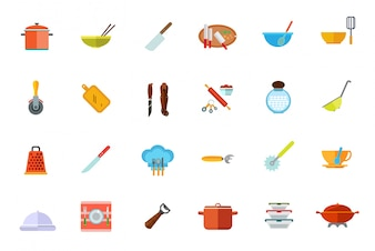 Cooking vessels, kitchen utensils icon set