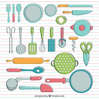 Cookware in hand drawn style