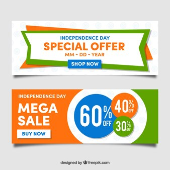 Cool banners of sales and indian independence day