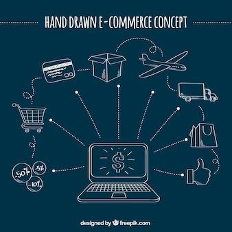 Cool hand drawn e-commerce concept