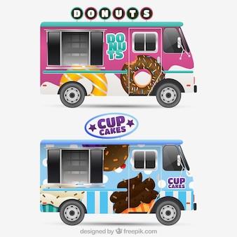 Cool pack of realistic food trucks