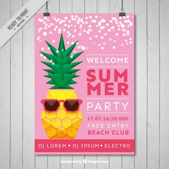 Cool pineapple summer party flyer