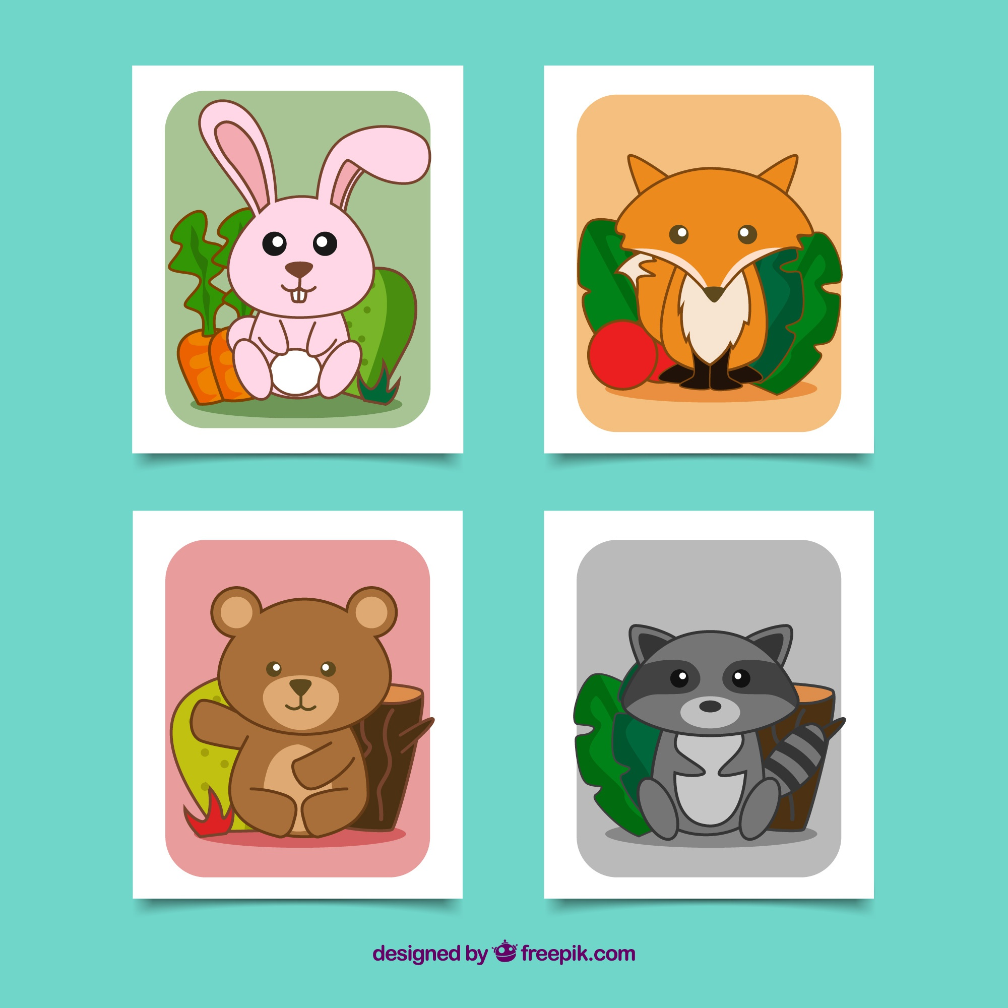 Cool set of cards with lovely animals