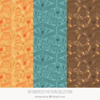 Cool set of modern oktoberfest patterns