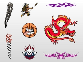 Cool tattoo designs vector set