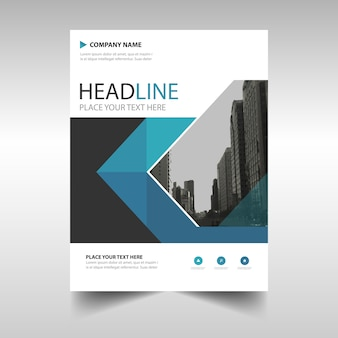 Corporate blue brochure template with geometric shapes